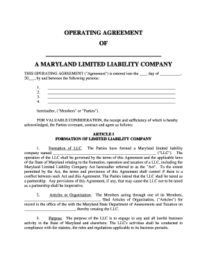 Maryland Limited Liability Company LLC Operating Agreement