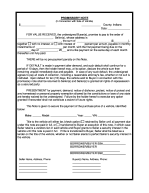 promissory note with full up   fill online printable fillable blank