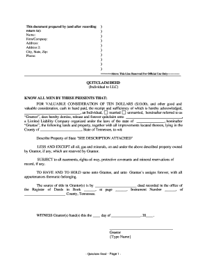 Quit Claim Deed Tennessee - Fill Online, Printable, Fillable ...