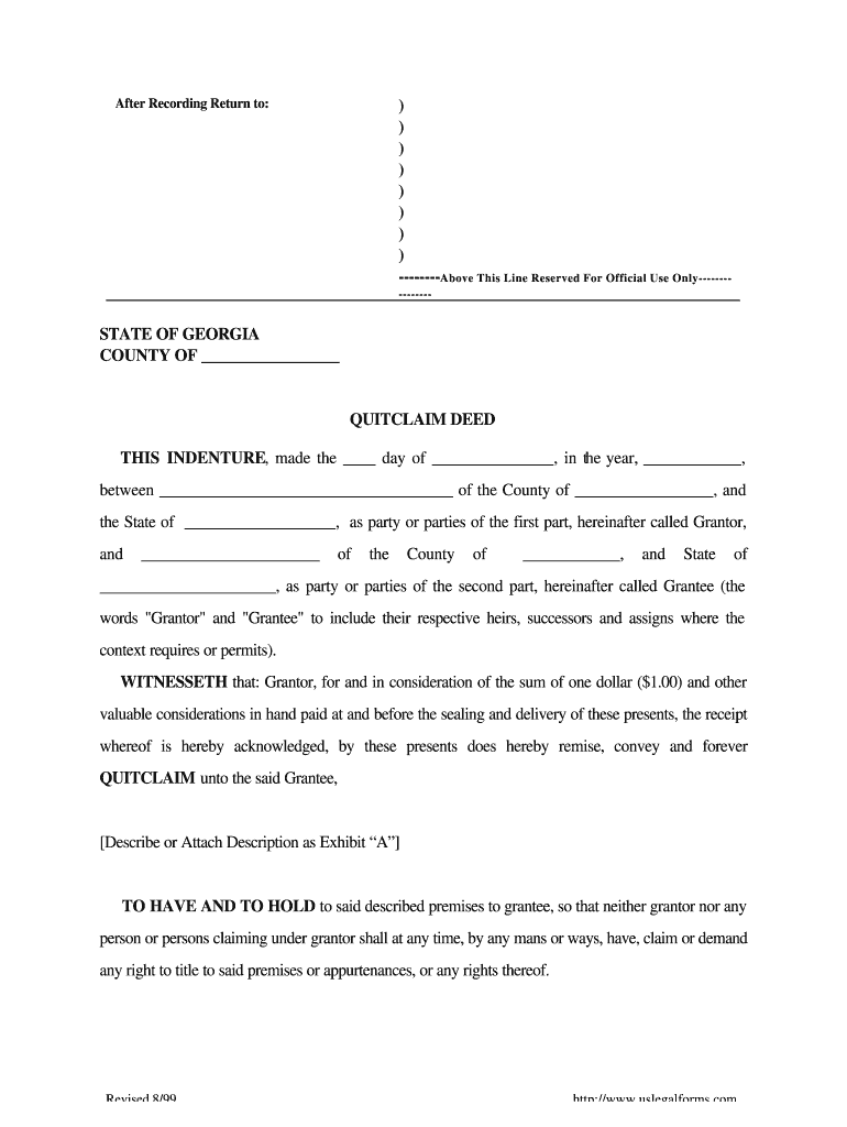 quick claim deed form in georgia  Georgia Quit Claim Deed - Fill Online, Printable, Fillable ...