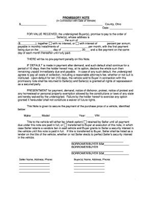 promissory note template form