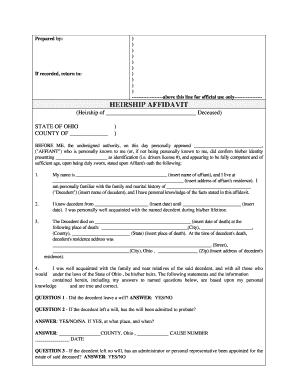 Ohio Affidavit Descent - Fill Online, Printable, Fillable, Blank ...