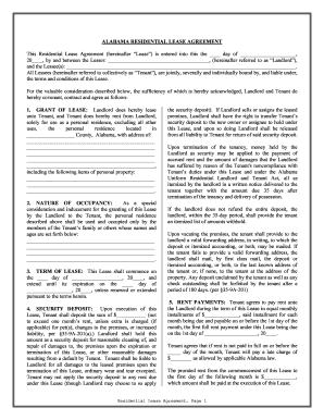 Bill Of Sale Form Alabama Residential Lease Agreement Templates