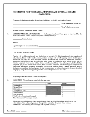 real estate purchase agreement template indiana  Land Contract Template Forms - Fillable