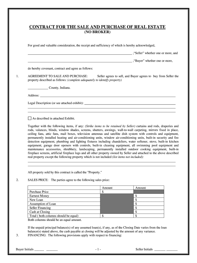 Real Estate Purchase Agreement Indiana - Fill Online, Printable