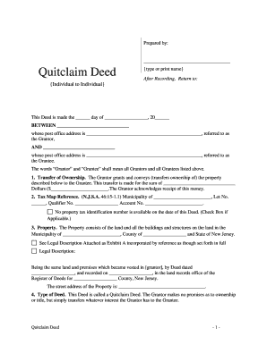 quit claim deed form nj  Fillable Online New Jersey Quitclaim Deed from Individual to ...