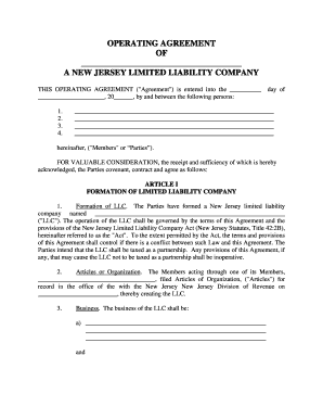 Fillable Online New Jersey Limited Liability Company Llc