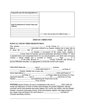 Colorado Correction Form New Jersey Special Warranty Deed