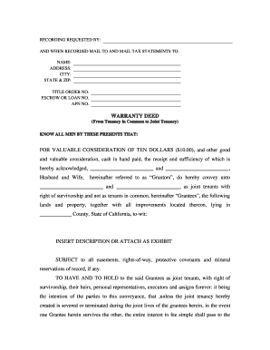 Bill Of Sale Form Kansas Joint Tenancy Warranty Deed Templates ...