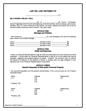 Bill of sale form tennessee last will and testament form for Wills and testaments templates
