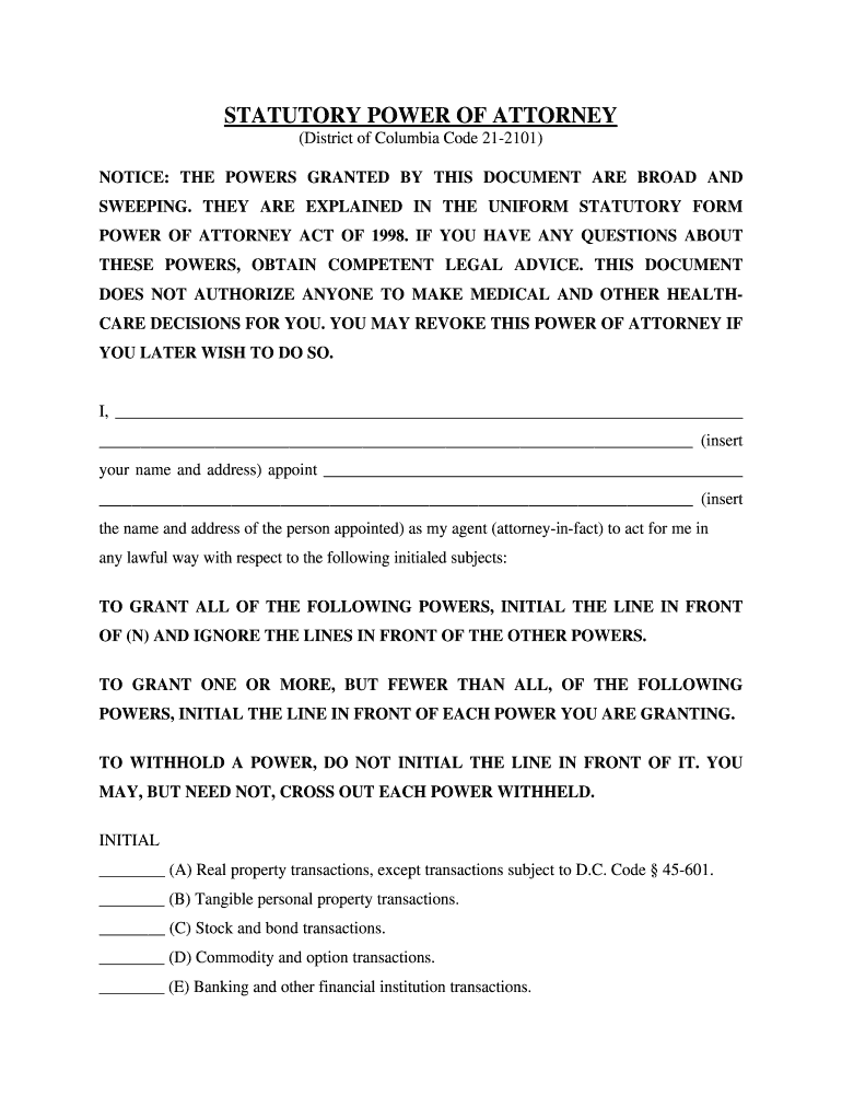 Dc Power Of Attorney Form Pdf   Fill Online, Printable, Fillable ...
