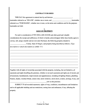 Free Contract For Deed Form - Fill Online, Printable, Fillable ...