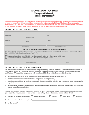 hampton university recommendation forms