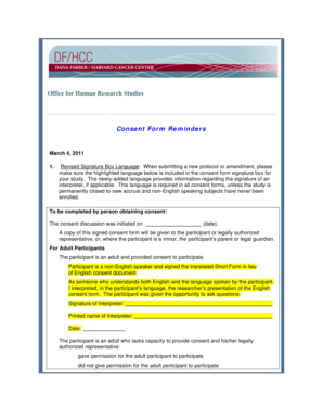 Office for Human Research Studies Consent Form Reminders - dfhcc harvard