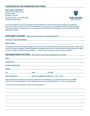 Holy family mba fillable recommendation form