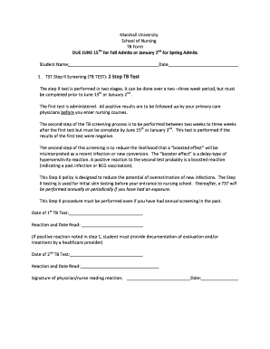 Fillable Online 2 Step TB Test Form - Marshall University Fax ...