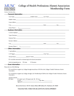 College of Health Professions Alumni Association Membership Form