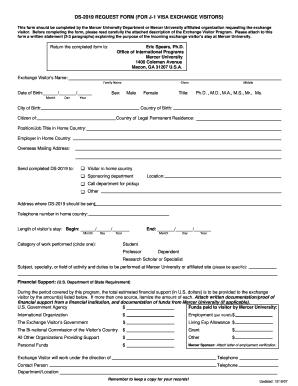 Fillable Online www2 mercer Iap-66 request form (for j-1 visa ...