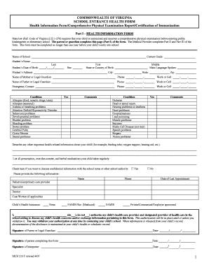 virginia school health form