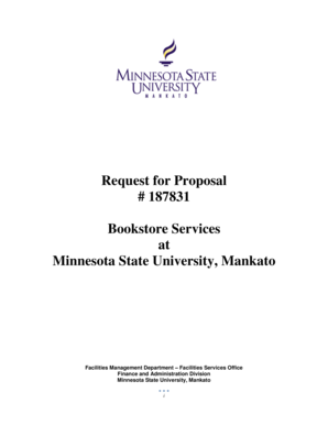 mnsu bookstore Fillable Online mnsu Request for Proposal # 187831 Bookstore ...