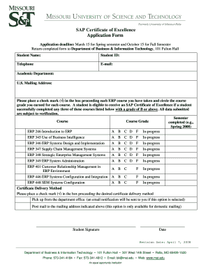 SAP Certificate of Excellence Application Form