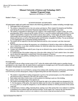 Agreement & Release of Liability Form - Pre-College Programs ...