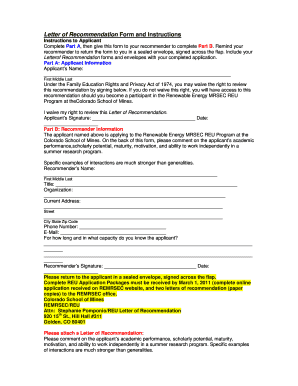 Letter of Recommendation Form and Instructions - Colorado School ... - remrsec mines