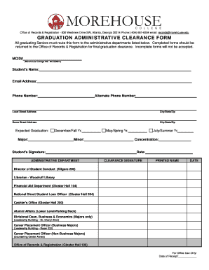 Clearance Form For Graduating Students - Fill Online, Printable ...