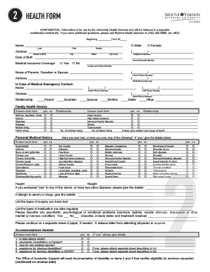 personal medical history form printable