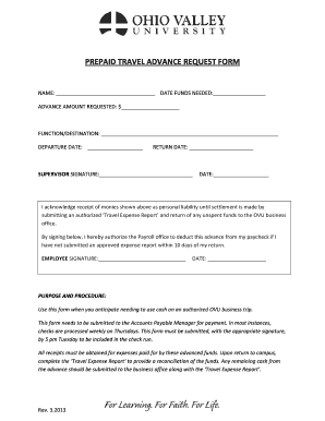 fillable online forms ovu prepaid travel advance request form ovu