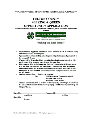 Fulton County 4-H King & Queen Application - Miami County Home - miami osu