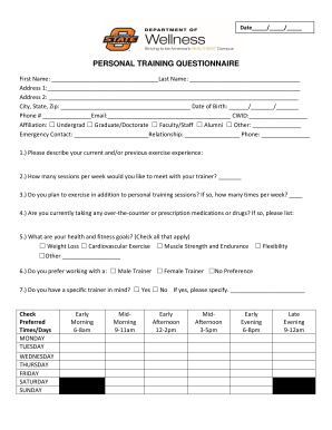 Personal Training Health Assessment Template Fill Online