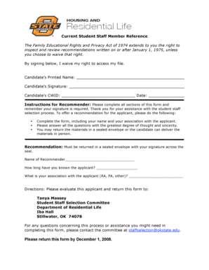 reslife okstate Fillable Online reslife okstate Student Staff Reference Form-Current ...