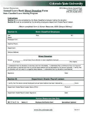 Annual Leave Bank Direct Donation Form - hrs colostate