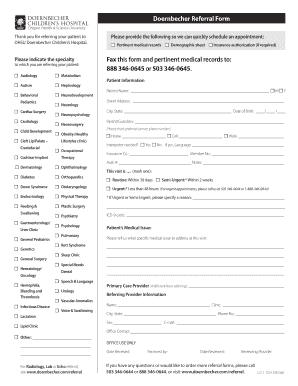 Fillable Online ohsu Doernbecher Referral Form Fax this form and ...