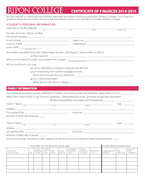 Ripon College Certificate Of Finance Form