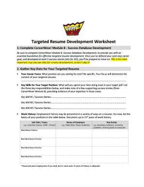 CareerWow! Targeted Resume Development Worksheet.docx - training colostate