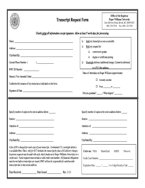 Rwu Transcript Request - Fill Online, Printable, Fillable, Blank ...