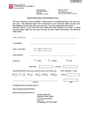 Payroll Deduction Authorization Form   Temple University