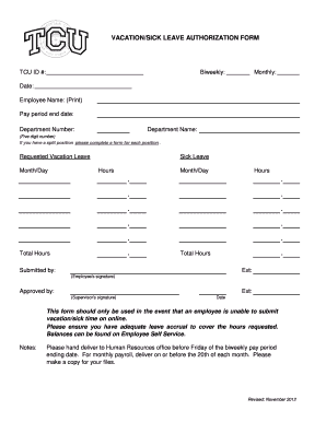 Vacation Sick Leave Form - Fill Online, Printable, Fillable, Blank ...