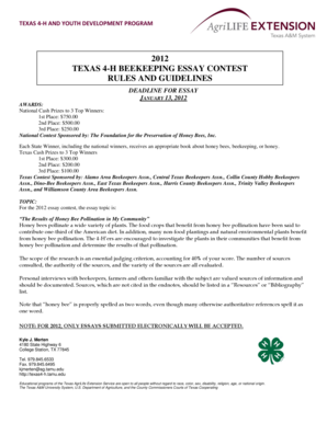 essay on apiculture Essayists should not submit essays directly to the foundation for the preservation of honey bees, inc office each state 4-h office is responsible for selecting the state's winner and should set its deadline so state judging can be completed in time for the winning essay to be submitted to the abf office before march 9, 2018.