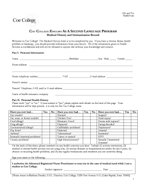 esl medical history form edit print fill out download online