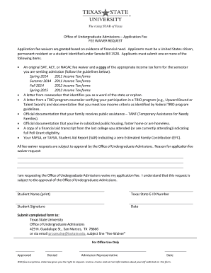 texas state university application form