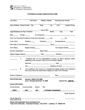 Extension Course Application Form - Texas Tech University