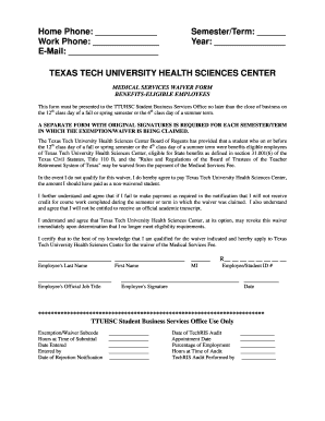 Medical Services Waiver Form - Texas Tech University Health ... - fiscal ttuhsc