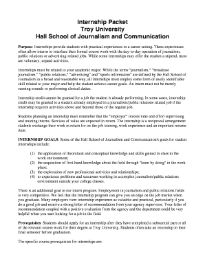 Internship Agreement Form (includes the Internship Packet) - jschool troy