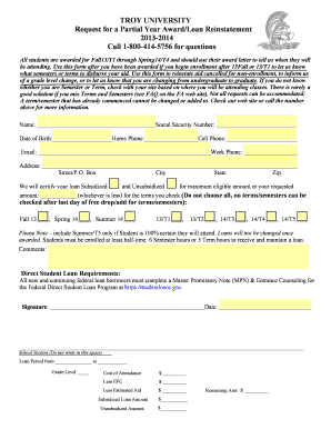 troy university partial year loan request form