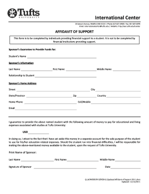 affidavit of support sample letter form
