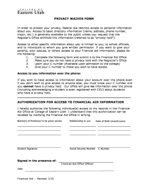 privacy waiver form