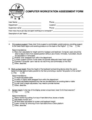 Fillable Online Uhs Berkeley Computer Workstation Assessment Form
